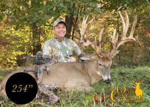 "this photo is of a 254"" whitetail buck harvested at Oak Creek with a bow."